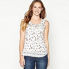Mantaray - Off White Sunshine Print Cotton Vest Top