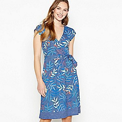 Mantaray - Navy Spotted Palm Print Cotton Knee Length Wrap Dress
