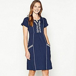 Mantaray - Navy Embroidered Cotton Knee Length Skater Dress