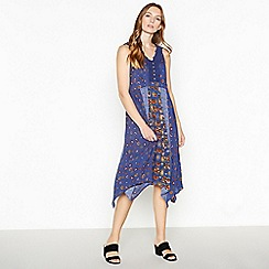 Mantaray - Navy Mixed Floral Hanky Hem Dress