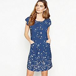Mantaray - Blue Fruit Print Knee Length Tunic Dress