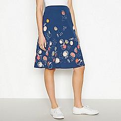 Mantaray - Navy Fruit Print Knee Length A-Line Skirt