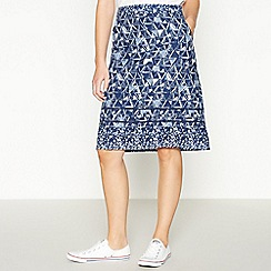 Mantaray - Navy Geometric Print A-Line Knee Length Skirt