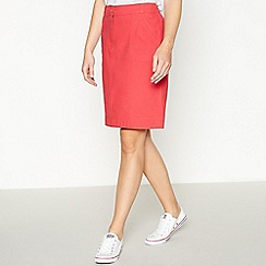 Mantaray - Pink Canvas Cotton Knee Length A-line Skirt