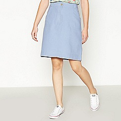 Mantaray - Blue Canvas Cotton Knee Length A-line Skirt