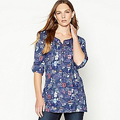 Mantaray - Navy Balloon Print Cotton Tunic Top