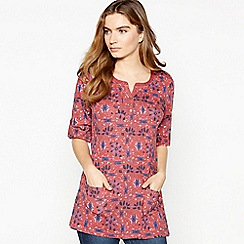 Mantaray - Pink Floral Print Cotton Tunic Top