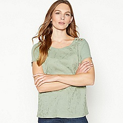 Mantaray - Light Green Floral Embroidered Cotton T-Shirt