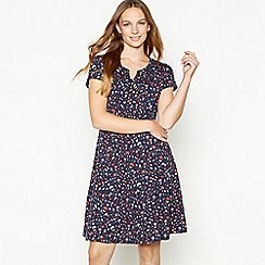 Mantaray - Navy Heart Print Knee Length Skater Dress