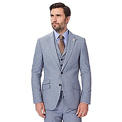 Hammond & Co. by Patrick Grant - Big and tall light blue pinstripe single breasted jacket with wool