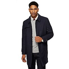 Hammond & Co. by Patrick Grant - Big and tall navy checked wool blend mac coat