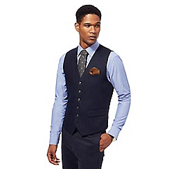 Hammond & Co. by Patrick Grant - Navy textured herringbone wool blend waistcoat