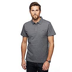 Hammond & Co. by Patrick Grant - Big and tall dark grey textured herringbone polo shirt