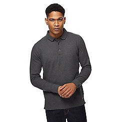 Hammond & Co. by Patrick Grant - Dark grey long sleeve pique polo shirt