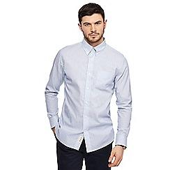 Hammond & Co. by Patrick Grant - Blue Dobby stripe long sleeve shirt