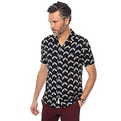 Hammond & Co. by Patrick Grant - Navy chevron print bowling shirt