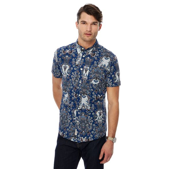 Big by Hammond tall short Patrick Grant paisley sleeve Co shirt and print amp; blue Wn0rTnxX