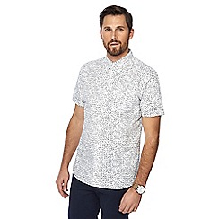 Hammond & Co. by Patrick Grant - White domino print button down collar short sleeve regular fit shirt