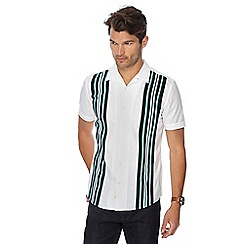 Hammond & Co. by Patrick Grant - White striped short sleeve regular fit shirt