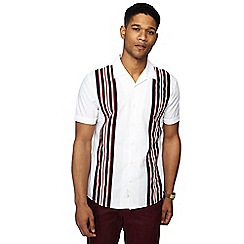 Hammond & Co. by Patrick Grant - Big and tall white striped short sleeve regular fit shirt