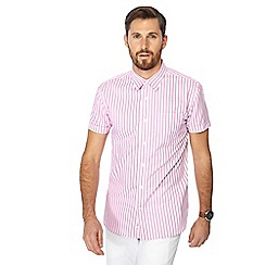Hammond & Co. by Patrick Grant - Big and tall pink ice cream stripe short sleeve shirt