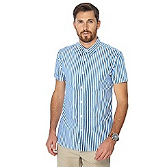 Hammond & Co. by Patrick Grant - Blue ice cream stripe short sleeve shirt
