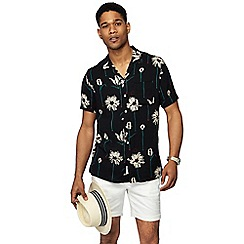 Hammond & Co. by Patrick Grant - Black tulip print short sleeve bowling shirt