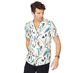 Hammond & Co. by Patrick Grant - Multi-coloured leaf print short sleeve regular fit shirt