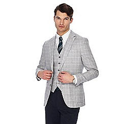 Hammond & Co. by Patrick Grant - Big and tall grey pow check linen blend blazer