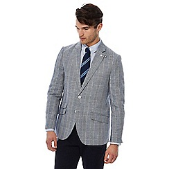 Hammond & Co. by Patrick Grant - Big and tall grey checked linen blend blazer