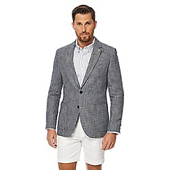 Hammond & Co. by Patrick Grant - Big and tall grey basketweave textured linen blend jacket