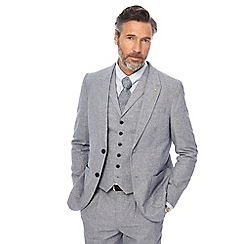 Hammond & Co. by Patrick Grant - Big and tall grey textured sharkskin linen blend jacket