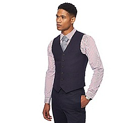 Hammond & Co. by Patrick Grant - Big and tall navy linen blend basket weave textured waistcoat