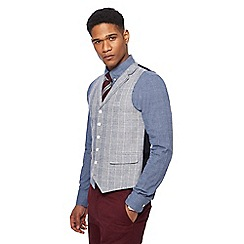 Hammond & Co. by Patrick Grant - Big and tall grey linen blend checked waistcoat
