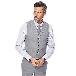 Hammond & Co. by Patrick Grant - Big and tall grey textured sharkskin linen blend waistcoat