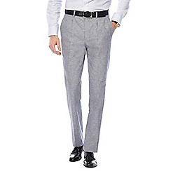 Hammond & Co. by Patrick Grant - Big and tall grey textured sharkskin linen blend trousers