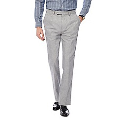 Hammond & Co. by Patrick Grant - Grey textured sharkskin linen blend trousers