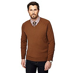 Hammond & Co. by Patrick Grant - Big and tall camel v-neck jumper