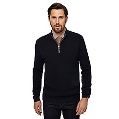 Hammond & Co. by Patrick Grant - Big and tall navy waffle knit zip neck sweater
