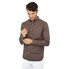 Hammond & Co. by Patrick Grant - Big and tall brown houndstooth long sleeve regular fit shirt