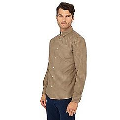 Hammond & Co. by Patrick Grant - Tan check print print long sleeve regular fit Oxford shirt