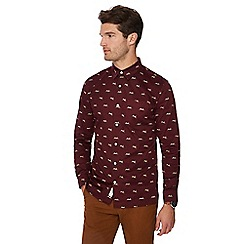 Hammond & Co. by Patrick Grant - Wine red hare print long sleeve regular fit shirt