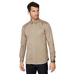 Hammond & Co. by Patrick Grant - Tan paisley print long sleeve regular fit shirt