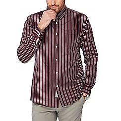 Hammond & Co. by Patrick Grant - Wine red stripe print cotton long sleeve shirt