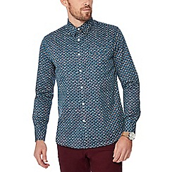 Hammond & Co. by Patrick Grant - Turquoise printed long sleeve shirt