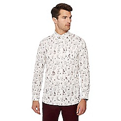Hammond & Co. by Patrick Grant - Cream fox and bird print long sleeve regular fit shirt
