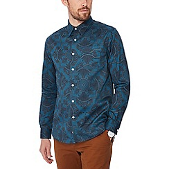 Hammond & Co. by Patrick Grant - Big and tall dark turquoise printed long sleeve regular fit shirt