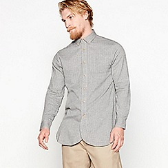 Daniel Rynne - Grey herringbone cotton long-sleeved shirt