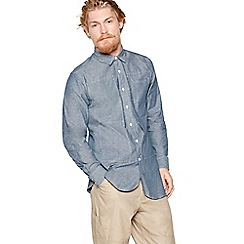 Daniel Rynne - Blue cotton chambray patch shirt