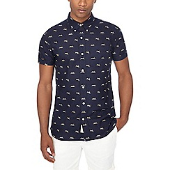 Hammond & Co. by Patrick Grant - Navy hare print tailored fit Oxford shirt
